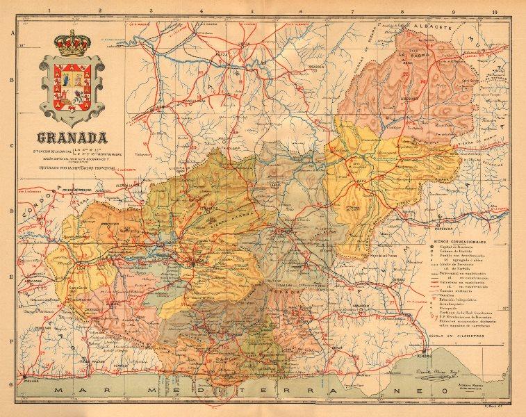 Associate Product GRANADA. Andalucia. Mapa antiguo de la provincia. ALBERTO MARTIN c1911 old
