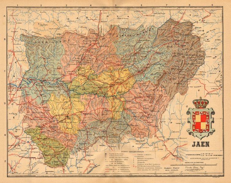 Associate Product JAÉN. Jaen. Andalucia. Mapa antiguo de la provincia. ALBERTO MARTIN c1911