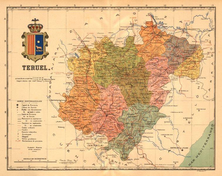 Associate Product TERUEL. Aragon. Mapa antiguo de la provincia. ALBERTO MARTIN c1911 old