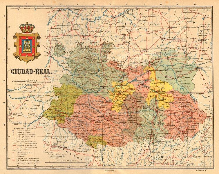 Associate Product CIUDAD REAL. Castilla-La Mancha. Mapa antiguo de la provincia. MARTIN c1911