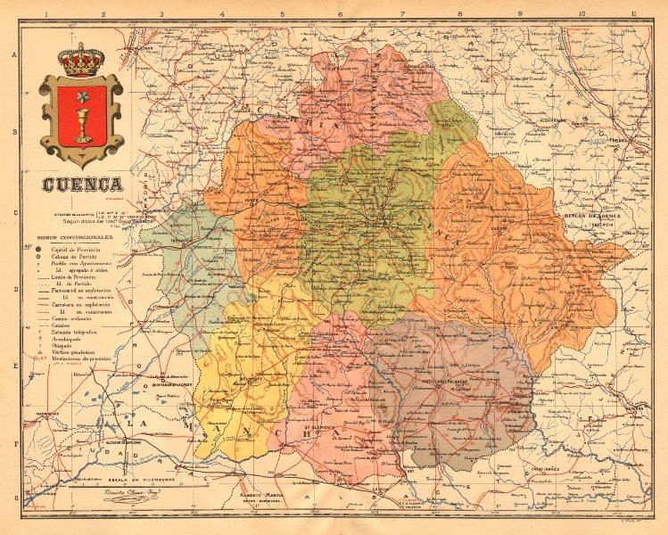 Associate Product CUENCA. Castilla-La Mancha. Mapa antiguo de la provincia. ALBERTO MARTIN c1911