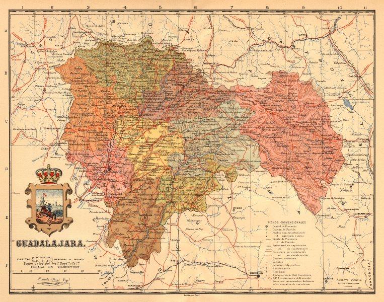 Associate Product GUADALAJARA. Castilla-La Mancha. Mapa antiguo de la provincia. MARTIN c1911