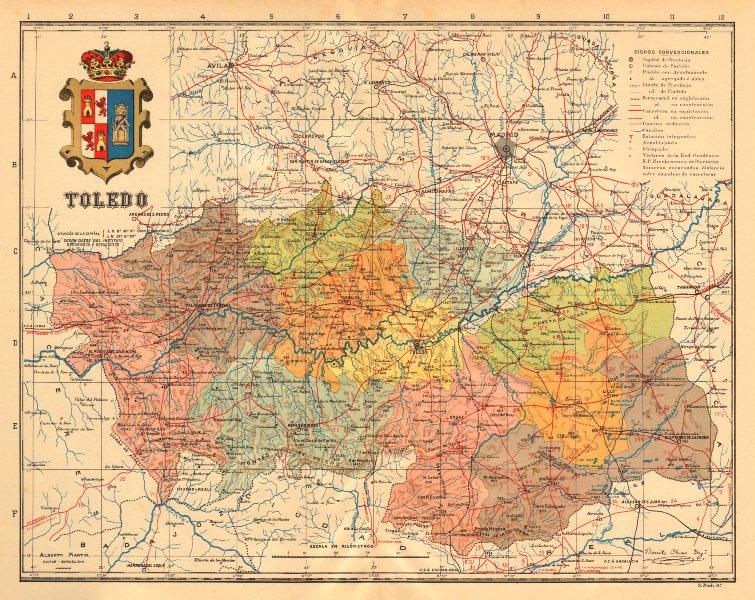 Associate Product TOLEDO. Castilla-La Mancha. Mapa antiguo de la provincia. ALBERTO MARTIN c1911