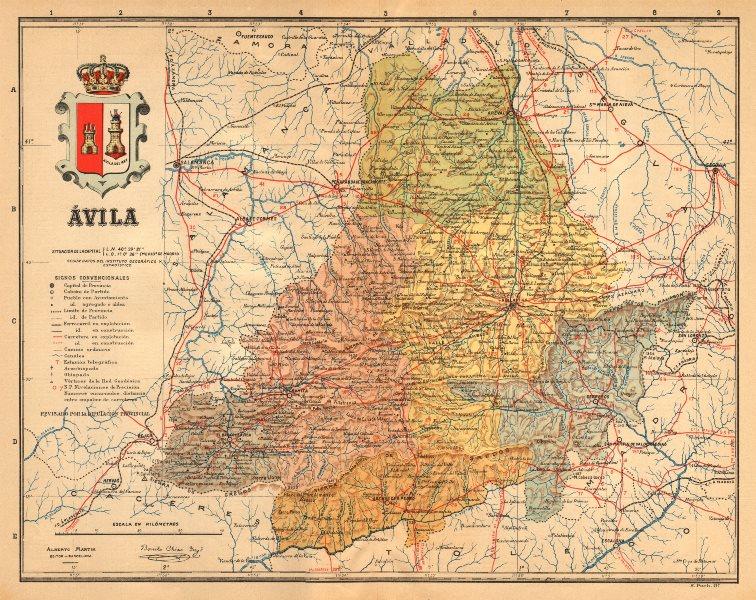 Associate Product ÁVILA Avila. Castilla y León. Mapa antiguo de la provincia. ALBERTO MARTIN c1911