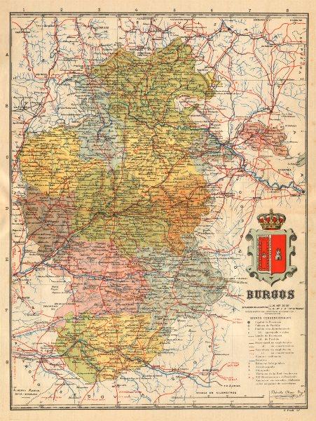 Associate Product BURGOS. Castilla y León. Mapa antiguo de la provincia. ALBERTO MARTIN c1911