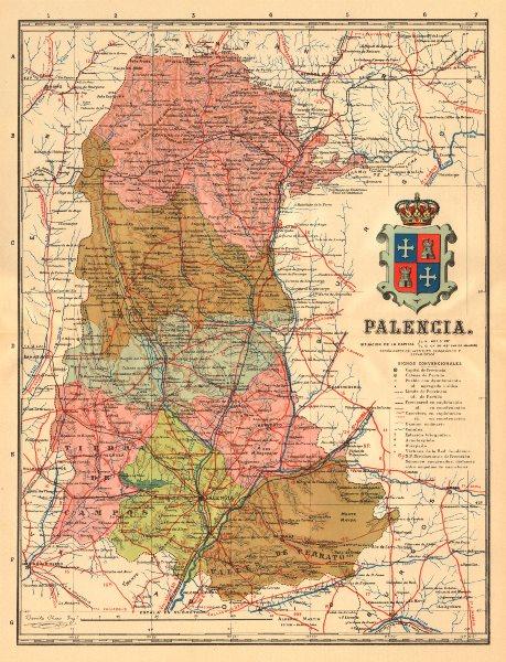 Associate Product PALENCIA. Castilla y León. Mapa antiguo de la provincia. ALBERTO MARTIN c1911