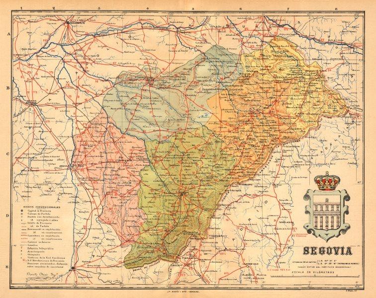 Associate Product SEGOVIA. Castilla y León. Mapa antiguo de la provincia. ALBERTO MARTIN c1911