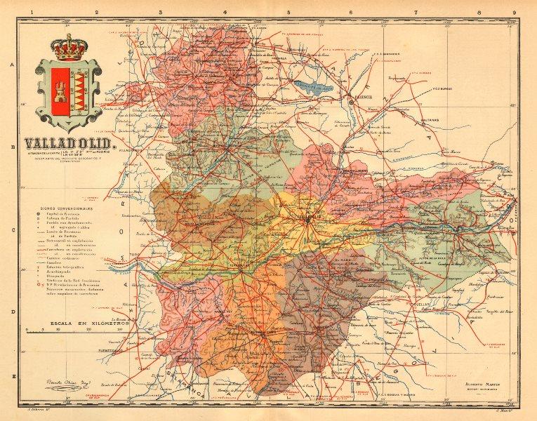 Associate Product VALLADOLID. Castilla y León. Mapa antiguo de la provincia. ALBERTO MARTIN c1911