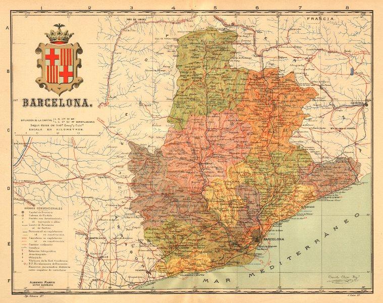 Associate Product BARCELONA. Cataluña Catalunya Catalonia. Mapa antiguo provincia. MARTIN c1911