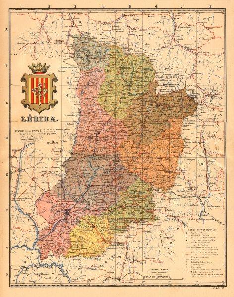 LÉRIDA. Lleida Lerida. Cataluña Catalunya. Mapa antiguo provincia. MARTIN c1911