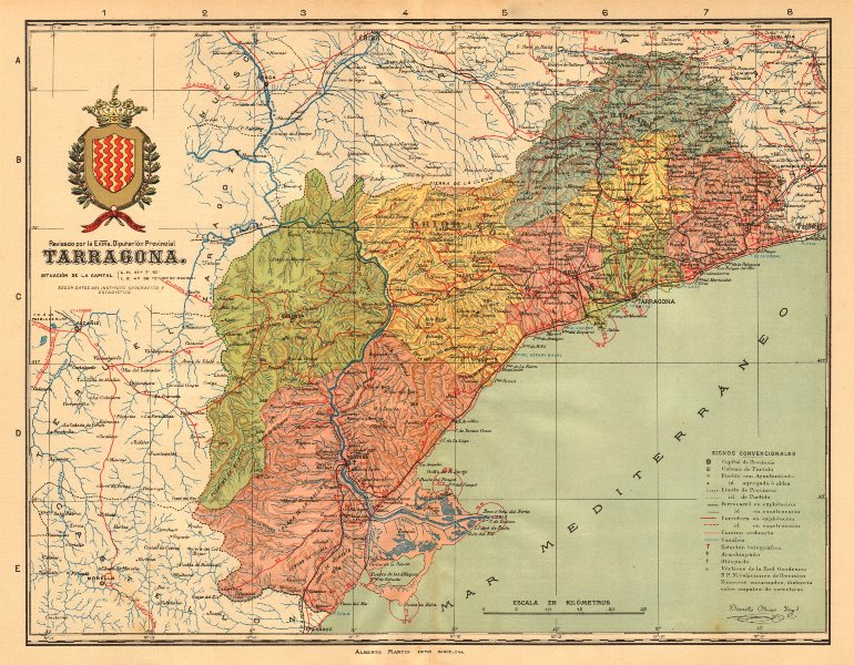 Associate Product TARRAGONA. Cataluña Catalunya Catalonia. Mapa antiguo provincia. MARTIN c1911