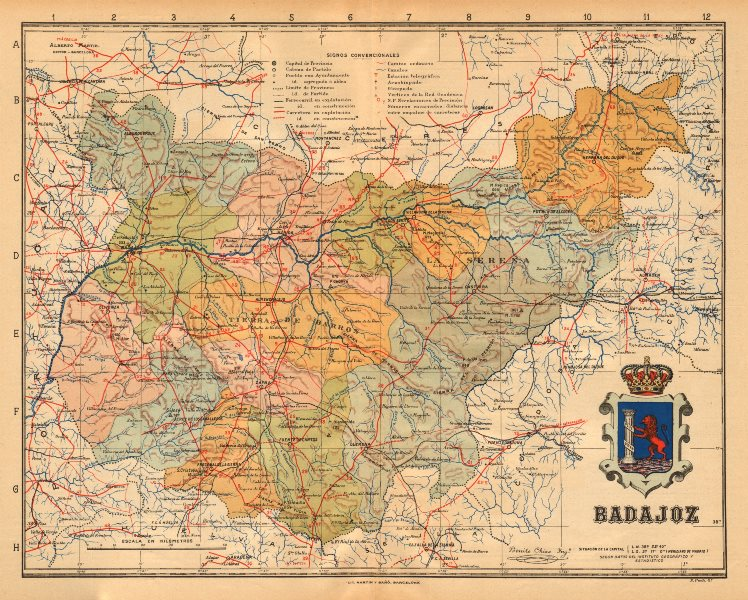 Associate Product BADAJOZ. Mérida. Extremadura. Mapa antiguo de la provincia. ALBERTO MARTIN c1911