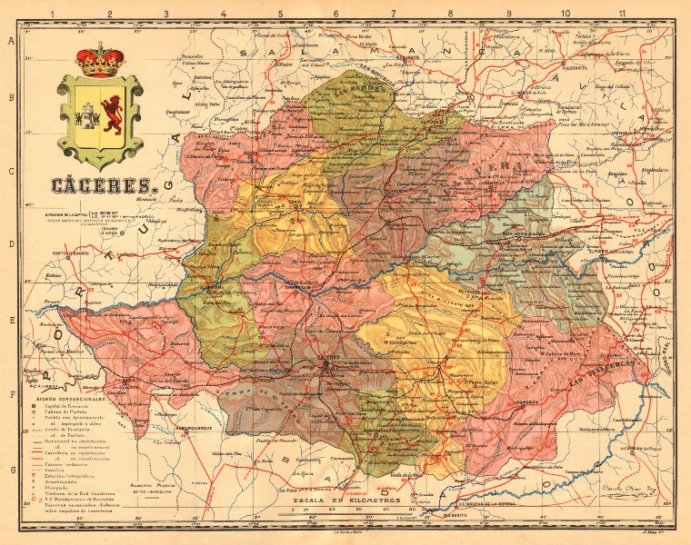 Associate Product CÁCERES. Caceres. Extremadura. Mapa antiguo de la provincia. MARTIN c1911