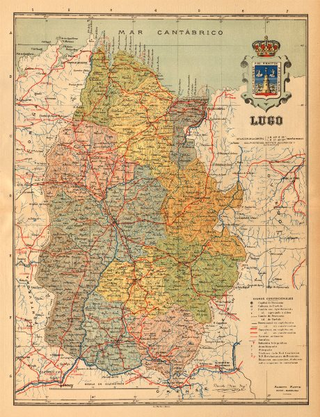 Associate Product LUGO. Galicia. Mapa antiguo de la provincia. ALBERTO MARTIN c1911 old