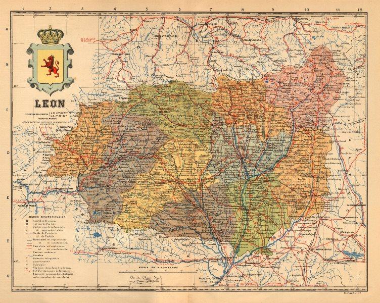 Associate Product LEÓN. Leon. Castilla y León. Mapa antiguo de la provincia. ALBERTO MARTIN c1911