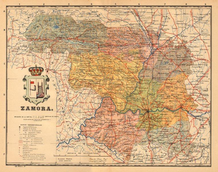 Associate Product ZAMORA. Castilla y León. Mapa antiguo de la provincia. ALBERTO MARTIN c1911