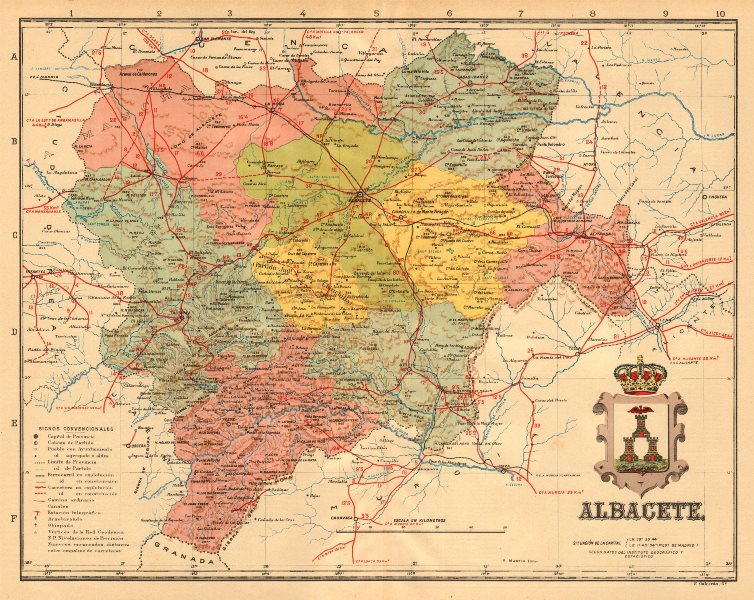Associate Product ALBACETE. Castilla-La Mancha. Mapa antiguo de la provincia. ALBERTO MARTIN c1911