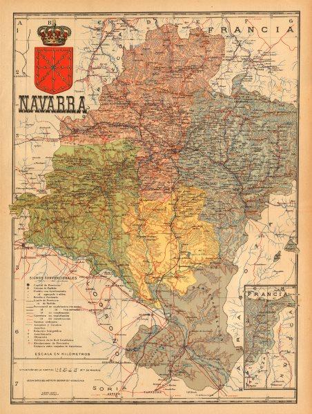 Associate Product NAVARRENAFARROA NAVARRA. Pamplona. Iruña. Mapa antiguo provincia. MARTIN c1911