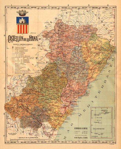 Associate Product CASTELLÓN DE LA PLANA Comunitat Valenciana Mapa antiguo provincia. MARTIN c1911