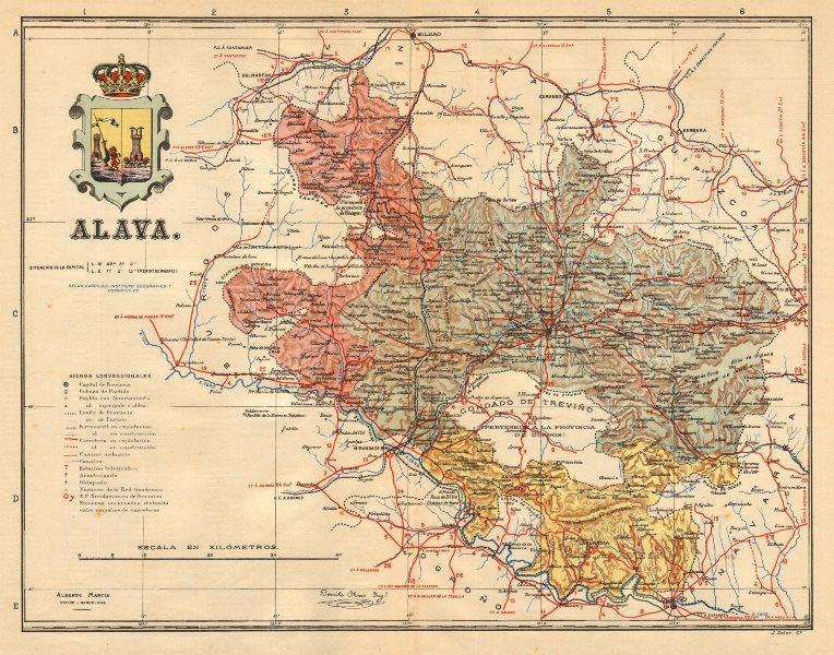 Associate Product ÁLAVA ALAVA ARABA. Vitoria Gasteiz Euskadi. Mapa antiguo provincia. MARTIN c1911