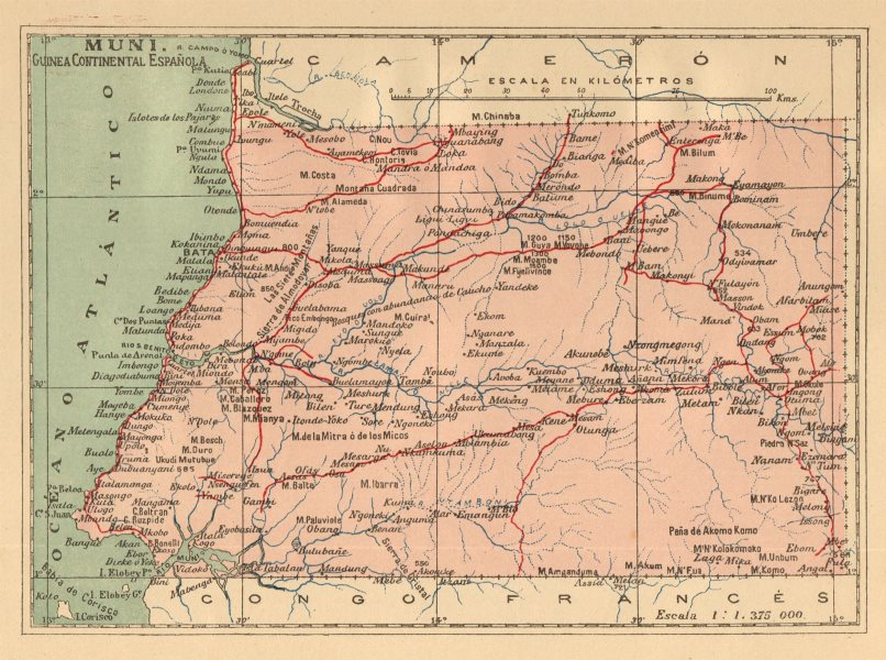 Associate Product EQUATORIAL GUINEA ECUATORIAL. Muni Guinea continental Espanola. MARTIN c1911 map