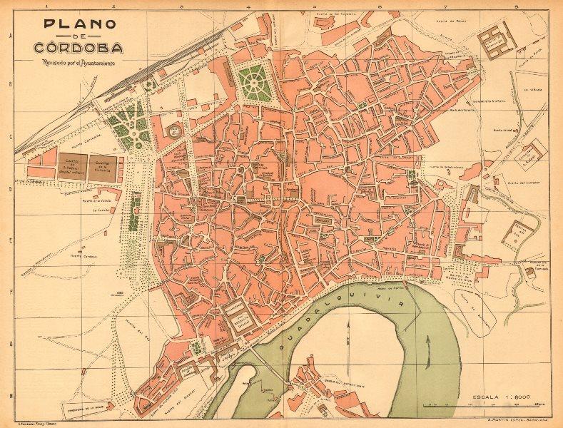 Associate Product CORDOBA. Plano antiguo de la cuidad. Antique town/city plan. MARTIN c1911 map
