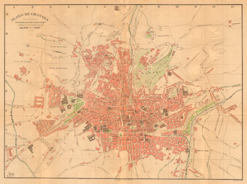 Associate Product GRANADA. Plano antiguo de la cuidad. Antique town/city plan. MARTIN c1911 map