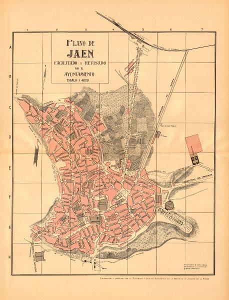 Associate Product JAEN. Plano antiguo de la cuidad. Antique town/city plan. MARTIN c1911 old map