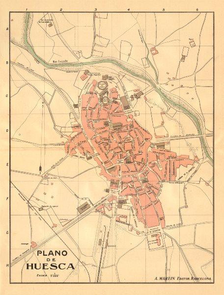 Associate Product HUESCA. Plano antiguo de la cuidad. Antique town/city plan. MARTIN c1911 map