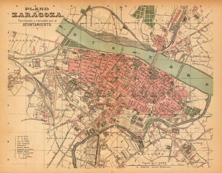 Associate Product ZARAGOZA Saragossa Plano antiguo cuidad Antique town/city plan. MARTIN c1911 map