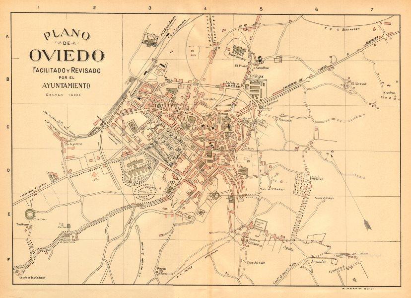 Associate Product OVIEDO. Plano antiguo de la cuidad. Antique town/city plan. MARTIN c1911 map