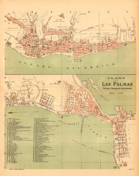 Associate Product LAS PALMAS. Plano antiguo de la cuidad. Antique town/city plan. MARTIN c1911 map