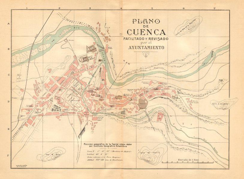 Associate Product CUENCA. Plano antiguo de la cuidad. Antique town/city plan. MARTIN c1911 map