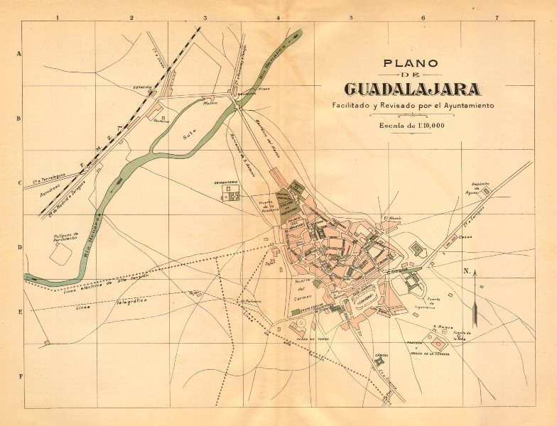 Associate Product GUADALAJARA España Plano antiguo cuidad Antique town/city plan. MARTIN c1911 map