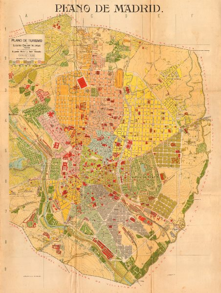 Associate Product MADRID. Plano antiguo de la cuidad. Antique town/city plan. MARTIN c1911 map