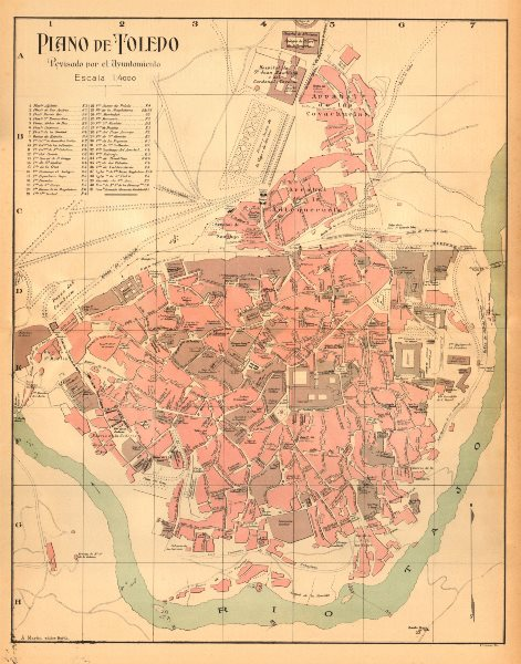 Associate Product TOLEDO. Plano antiguo de la cuidad. Antique town/city plan. MARTIN c1911 map