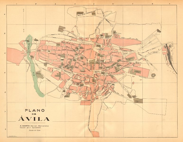 Associate Product AVILA. Plano antiguo de la cuidad. Antique town/city plan. MARTIN c1911 map