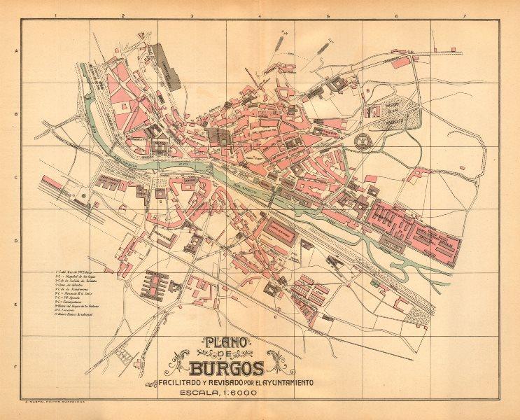 Associate Product BURGOS. Plano antiguo de la cuidad. Antique town/city plan. MARTIN c1911 map