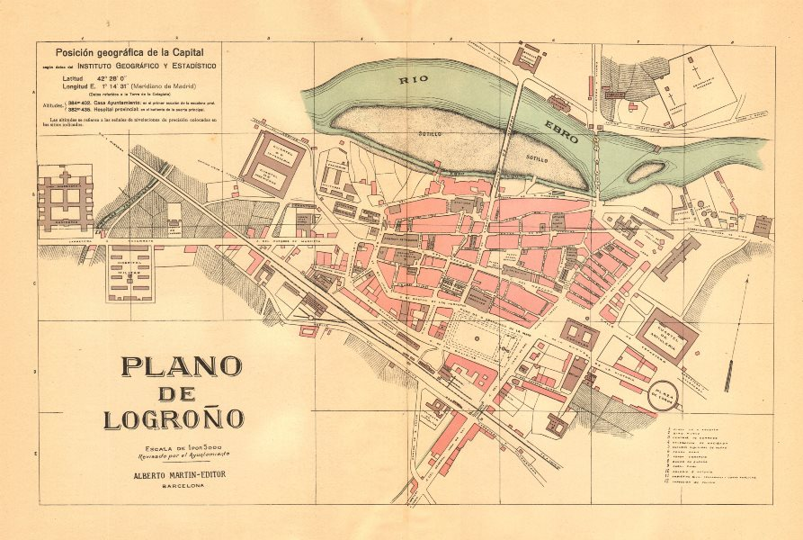 Associate Product LOGRONO. Plano antiguo de la cuidad. Antique town/city plan. MARTIN c1911 map