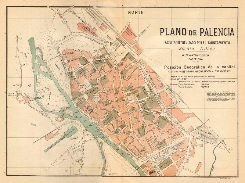 Associate Product PALENCIA. Plano antiguo de la cuidad. Antique town/city plan. MARTIN c1911 map
