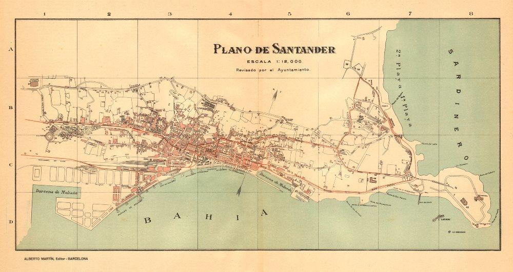 Associate Product SANTANDER. Plano antiguo de la cuidad. Antique town/city plan. MARTIN c1911 map