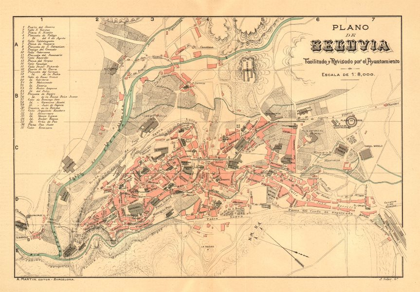 Associate Product SEGOVIA. Plano antiguo de la cuidad. Antique town/city plan. MARTIN c1911 map