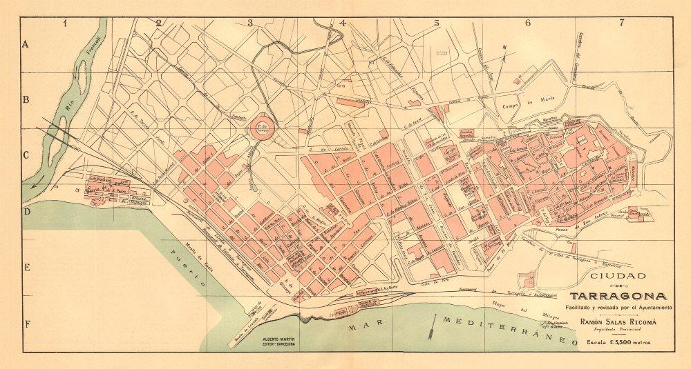 TARRAGONA. Plano antiguo de la cuidad. Antique town/city plan. MARTIN c1911 map