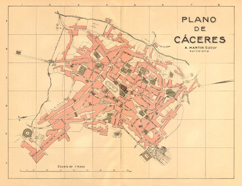 Associate Product CÁCERES. Plano antiguo de la cuidad. Antique town/city plan. MARTIN c1911 map