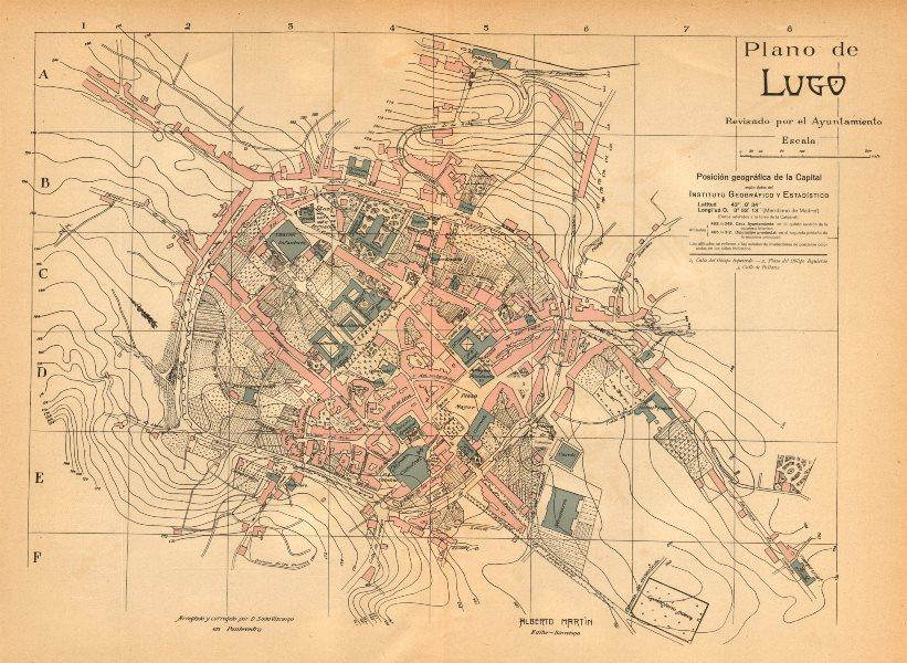 Associate Product LUGO. Plano antiguo de la cuidad. Antique town/city plan. MARTIN c1911 old map