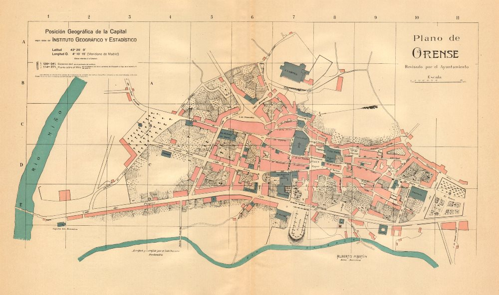 Associate Product ORENSE OURENSE. Plano antiguo cuidad. Antique town/city plan. MARTIN c1911 map