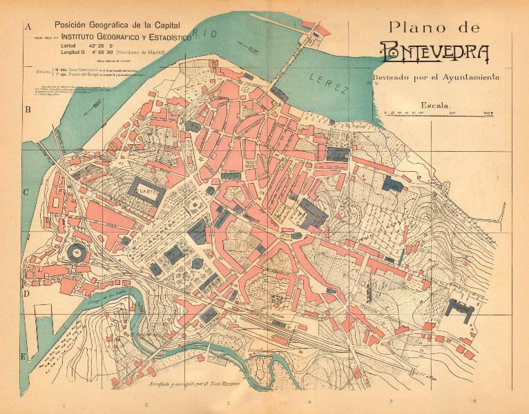 Associate Product PONTEVEDRA. Plano antiguo de la cuidad. Antique town/city plan. MARTIN c1911 map