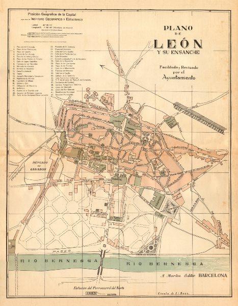 Associate Product LEON León. Plano antiguo de la cuidad. Antique town/city plan. MARTIN c1911 map