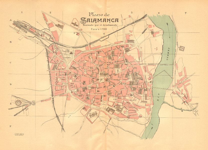 Associate Product SALAMANCA. Plano antiguo de la cuidad. Antique town/city plan. MARTIN c1911 map