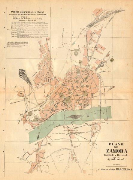 Associate Product ZAMORA. Plano antiguo de la cuidad. Antique town/city plan. MARTIN c1911 map
